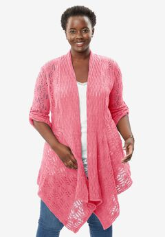 Open front pointelle cardigan, BEGONIA, hi-res