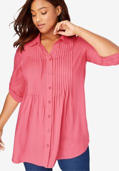 Pintucked Print Tunic Shirt,