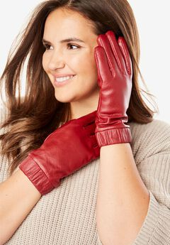 Fleece-lined leather gloves,