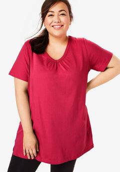 Perfect Shirred V-Neck Tunic, CLASSIC RED