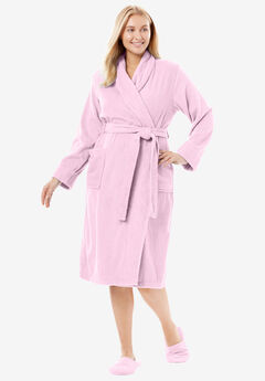 Short Terry Robe with FREE Matching Slippers by Dreams & Co®, PINK, hi-res