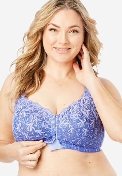 Scroll Embroidered Wireless Front-Close Bra by Amoureuse®,