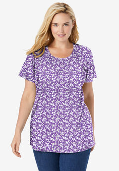 Perfect Printed Short-Sleeve Scoop-Neck Tee, PRETTY VIOLET MONO FLORAL