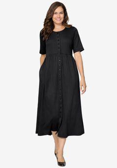 Button-Front Essential Dress, BLACK