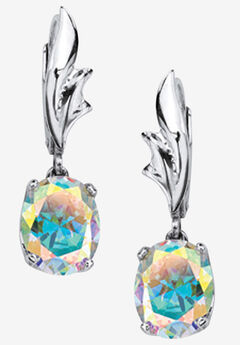Sterling Silver Drop Earrings, Oval Aurora Borealis Cubic Zirconia,