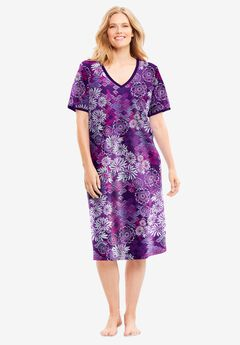 Short T-Shirt Lounger by Dreams & Co.®, RICH VIOLET BLOOMING