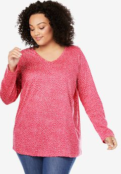 Perfect Printed V-Neck Long Sleeve Tee, ROSE PINK MINI DOT