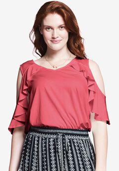 Cold Shoulder Ruffle Tee by Chelsea Studio®, SUN KISS CORAL, hi-res
