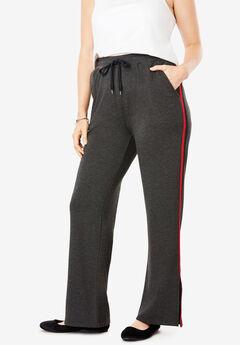 Striped Side Slit Fleece Pant,