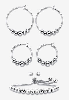 4-Piece Beaded Earrings and Bracelet Set in Silvertone,