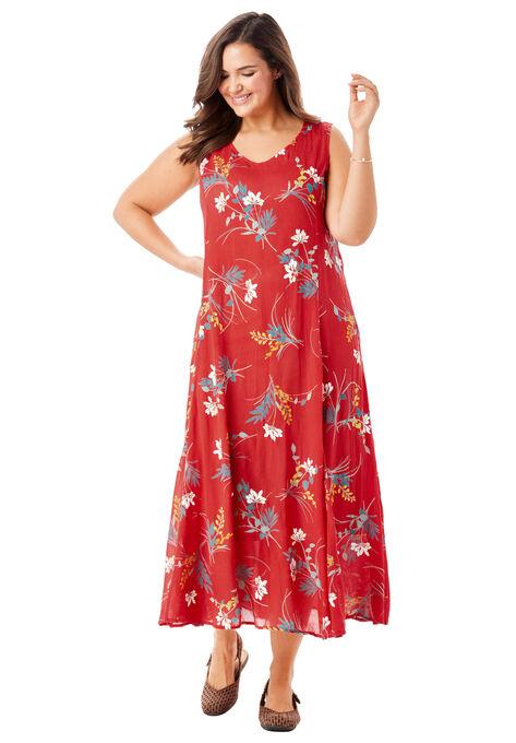 Sleeveless Crinkle A-Line Dress