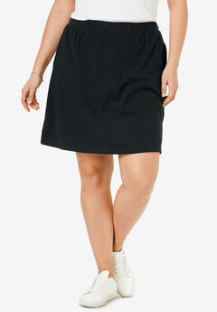 Stretch Cotton Skort, BLACK, hi-res