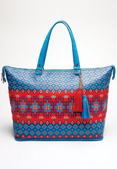 Large Weekender Bag, NAVY TRIBAL STRIPE, hi-res