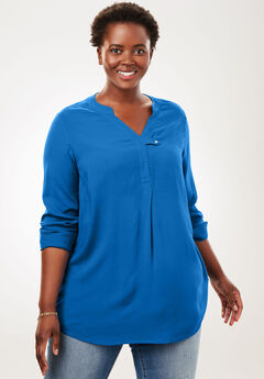 Tab-Front Long Sleeve Shirt, BRIGHT COBALT