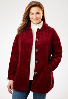 Jacket in plush pleated corduroy, RICH BURGUNDY, hi-res