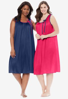 2-Pack Sleeveless Nightgown , EVENING BLUE PINK BURST