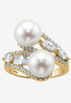Gold over Sterling Silver Pearl and Marquise Cubic Zirconia Ring by PalmBeach Jewelry,