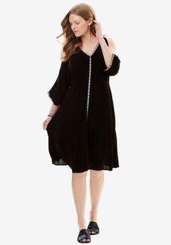 Cold-Shoulder Crinkle Dress with Trim,