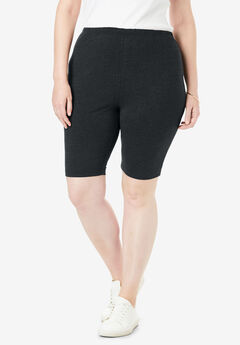 Stretch Cotton Bike Short, HEATHER CHARCOAL, hi-res
