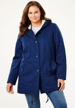 Hooded parka jacket has A-line shaping,