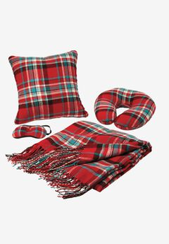 Holiday Travel Set, HOT RED TARTAN PLAID, hi-res