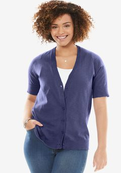 Cool cotton cardigan sweater, DARK BLUE, hi-res