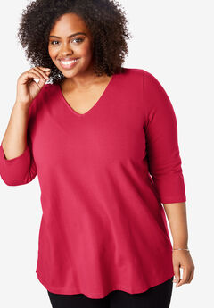 EveryWear Essentials™ Three-Quarter Sleeve Tee, CLASSIC RED