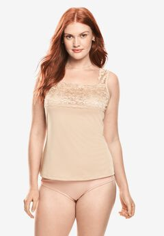 Silky Lace-Trimmed Camisole Slip by Comfort Choice®,