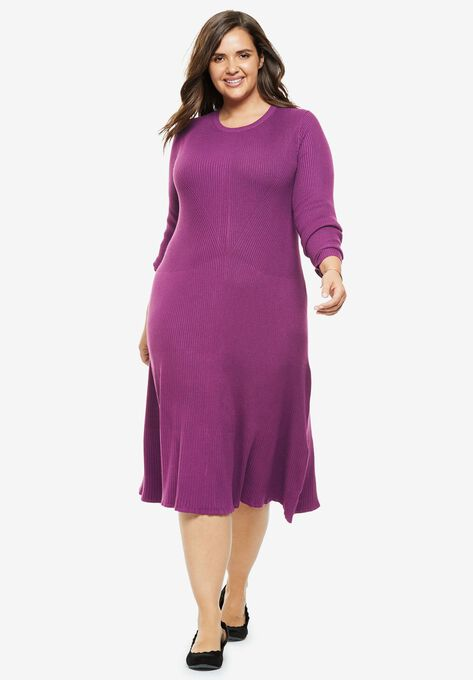 Cable Knit Sweater Dress Plus Size Casual Dresses Woman Within