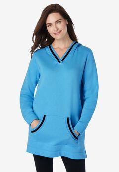 Hooded Fleece V-Neck Tunic,