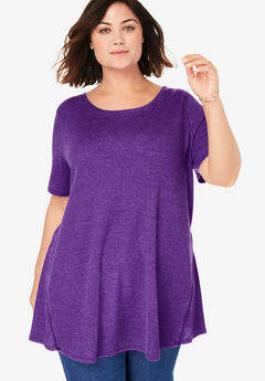 Washed Thermal Trapeze Tunic, RADIANT PURPLE