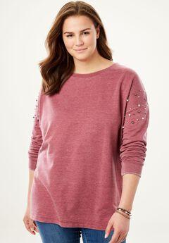 Pearl-Studded Vintage Wash Sweatshirt,