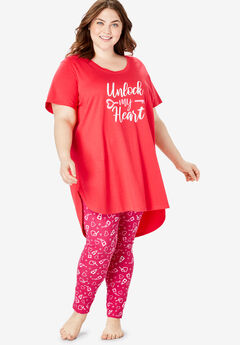 High-Low Tunic PJ Set by Dreams & Co.®, RADIANT PINK KEYS