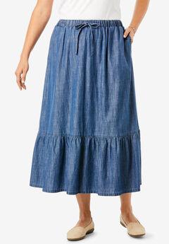 Drawstring Chambray Skirt,