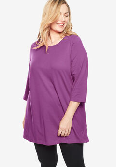 Perfect Scoop Neck Three-Quarter Sleeve Tunic, RADIANT ORCHID