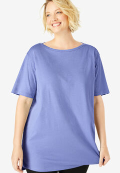 Perfect Boat Neck Elbow-Lengh Sleeve Tunic, FRENCH LILAC