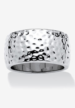 Hammered Silvertone Wide Band Ring (10mm),