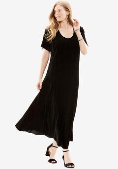 Pleated Velour Dress, BLACK