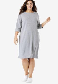 Fleece Sweatshirt Dress, HEATHER GREY