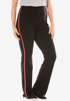 Stretch Cotton Side-Striped Bootcut Yoga Pant, BLACK CORAL RED, hi-res