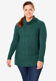 Mixed Cable Turtleneck Sweater, DARK PINE