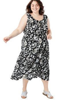 Button Front Flounced Hem Crinkle Tank Dress, BLACK PINSTRIPE FLORAL