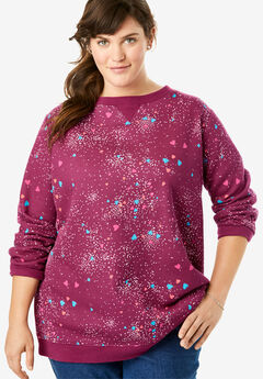 Fleece Sweatshirt, DEEP CRANBERRY SPRINKLE HEART