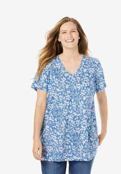 Perfect Printed V-Neck Tee, HORIZON BLUE DITSY CONFETTI
