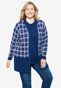 Perfect Cotton Open Front Cardigan, EVENING BLUE PLAID