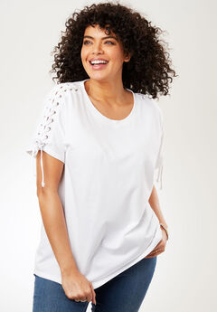 Lace-Up Shoulder Tee, WHITE, hi-res