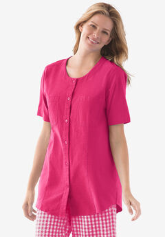 Short sleeve crinkle shirt, RASPBERRY SORBET