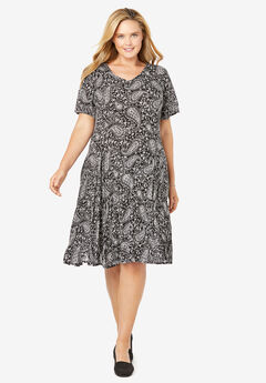 Short Crinkle Dress, BLACK STENCIL PAISLEY