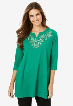 Beaded Notch Neck Tunic,