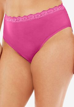 Lace-Trim High-Cut Microfiber Brief by Comfort Choice®, BRIGHT BERRY